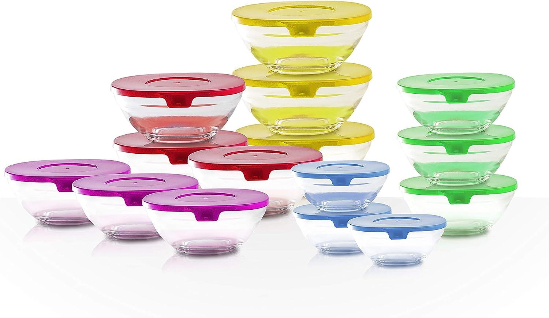Set de 15 Tuppers de Cristal de Colores: Amazon.es: Hogar