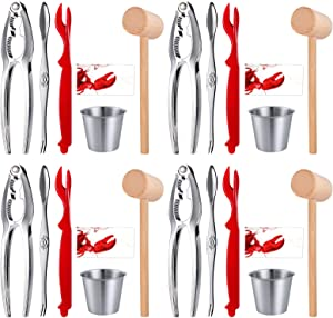 Crab Crackers and Tools - 4 Lobster Crackers, 4 Lobster Forks, 4 Seafood Forks, 4 Butter Cups, 4 Wooden Crab Mallets, 4 Lobster Bibs