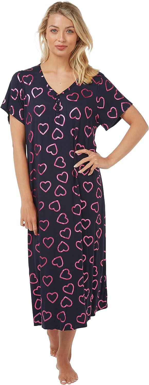 Indigo Sky Camicia da notte lunga da donna in jersey in vari colori vestibilit/à comoda con scollo a V