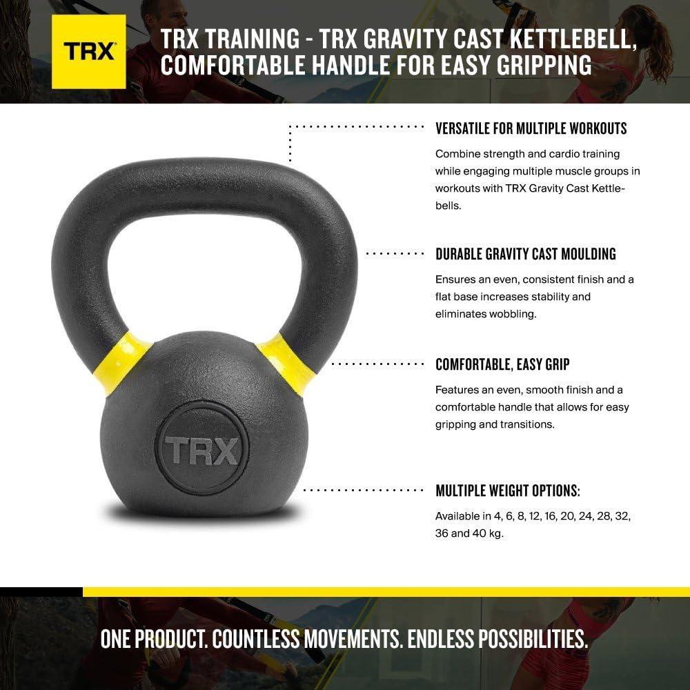 TRX Entrenamiento Pesa Rusa Gravity Cast Kettlebell asa Confortable para un fácil Agarre