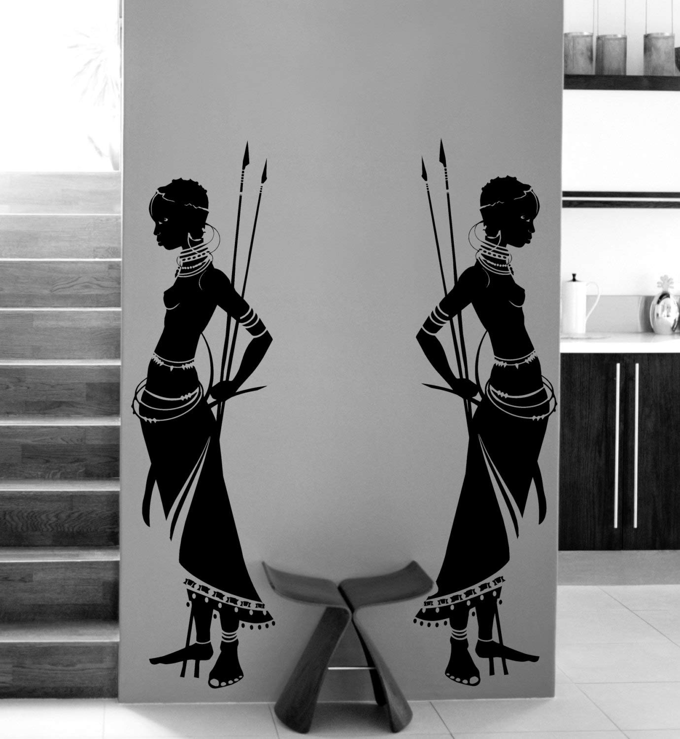 Housewares Tribal Two African Woman Wall Decal Vinyl Wall Stickers Home Decor Living Room Morden Design Wall Art Mural A190 (Black)