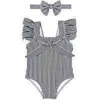 Sun Protection dPois Baby Girls One-Piece Swimwear Floral Long Sleeve Rash Guard Swimsuit Shirt Bathing Suit UPF 50