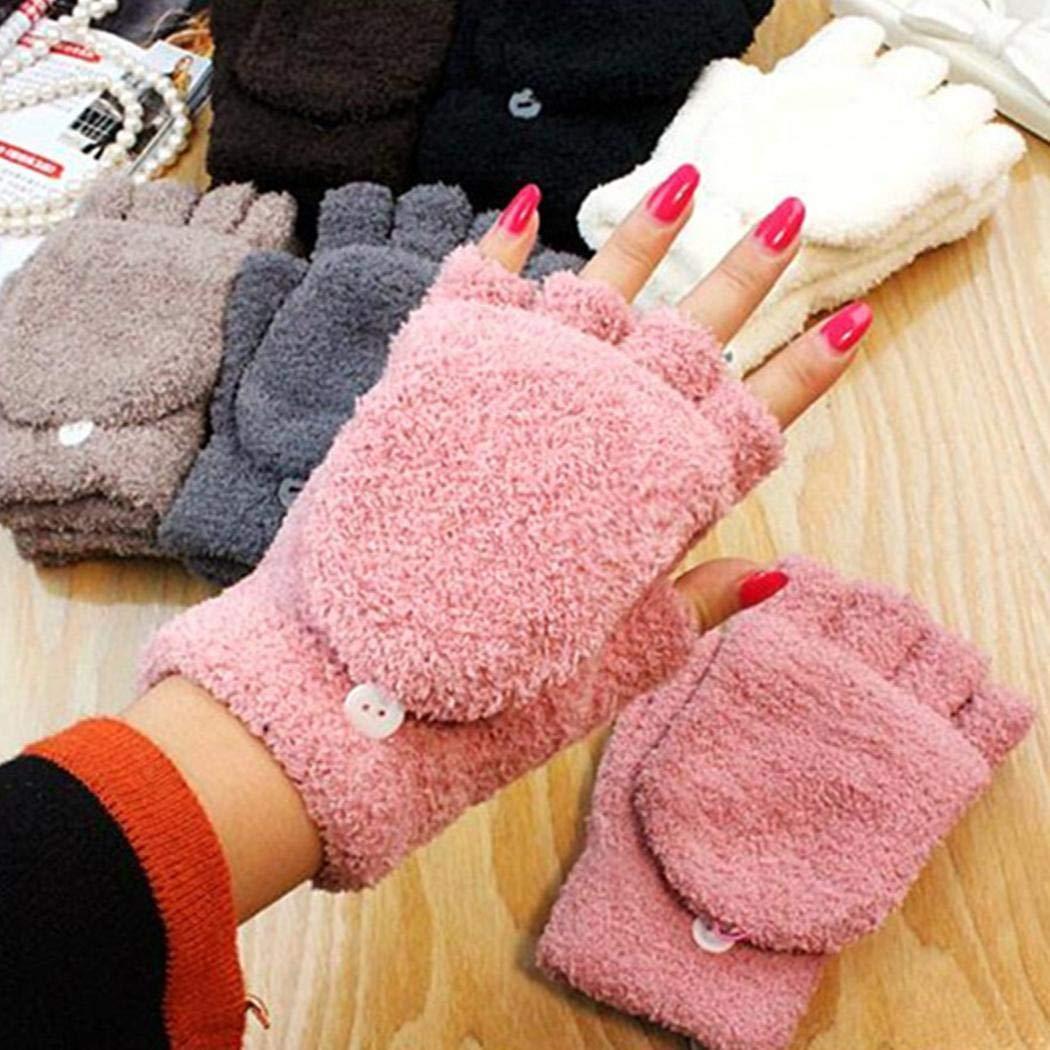melysEU Herren Damen Halbfingerhandschuhe Winter Warm Dick Outdoor Reiten Flip Mitten Handschuhe