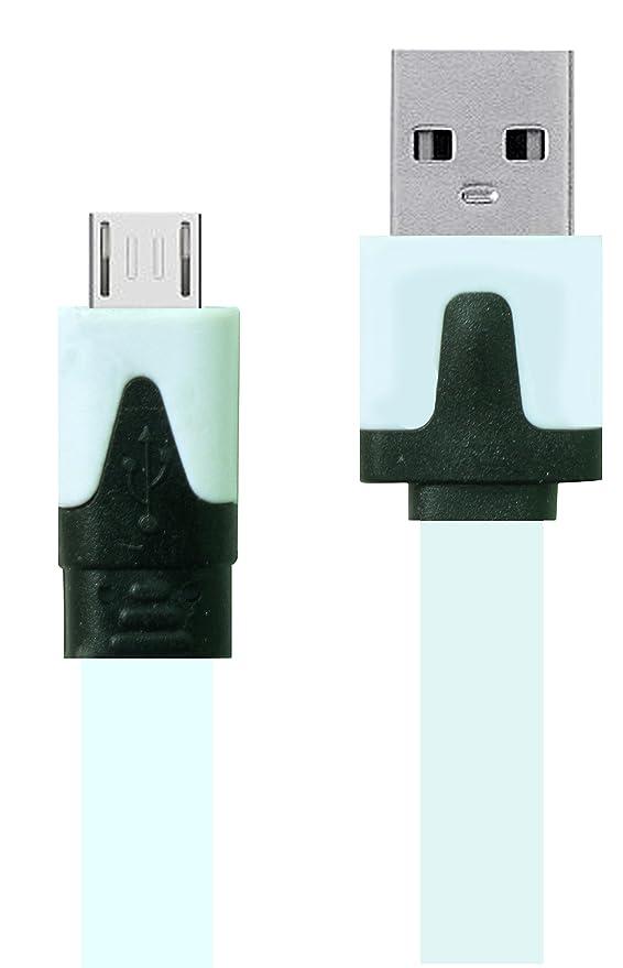 Universal Flat Micro USB Data Cable   3 feet   White