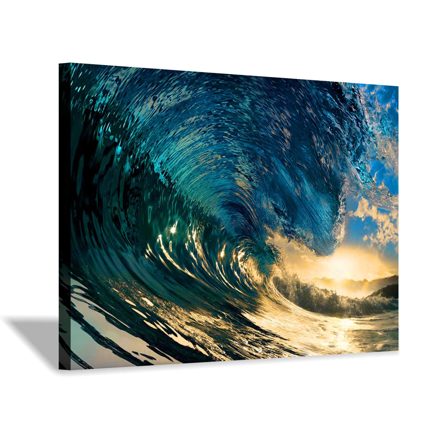 """Ocean Waves Picture Art Print: Sea Wave Sunset Artwork Painting on Canvas Wall Art for Living Rooms Office (36""""x24"""")"""