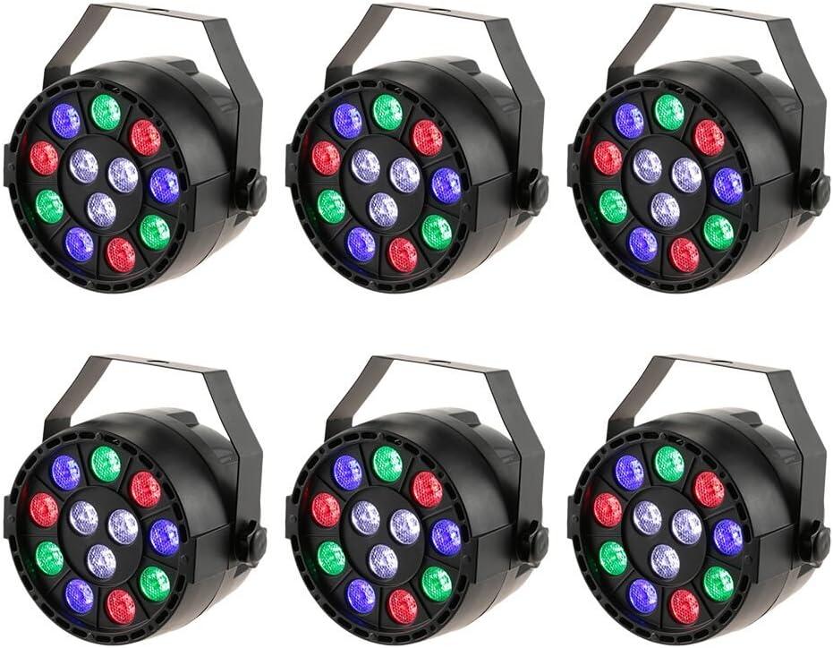 6pcs Lámpara de Escenario,Lixada DMX-512 Luces Discoteca de Proyector de Efecto,15W 12 LED Escenario Luces para KTV Navidad Fiesta Boda Discoteca(RGBW)