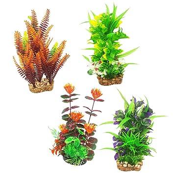 MagiDeal 4 Piezas De Plantas De Plástico Artificial Adorno De Flores Para Decoración De Pecera: Amazon.es: Hogar