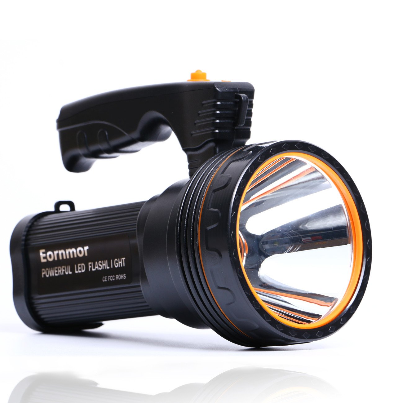 Eornmor Outdoor Handheld Portable Flashlight 6000 Lumens USB Rechargeable Super Bright LED spotlight Torch Searchlight Multi-function Long Shots Lamp, 9000ma 35W