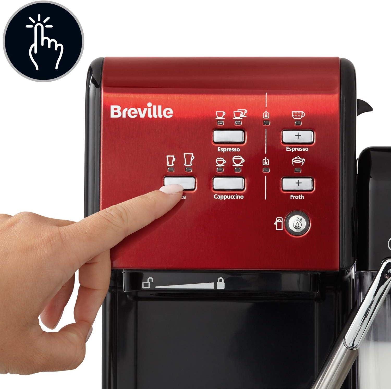 Breville VCF109X-01 PrimaLatte II VFC109X-01 - Cafetera de espresso (19 bares, para café en polvo o monodosis), color negro y rojo: Amazon.es: Hogar