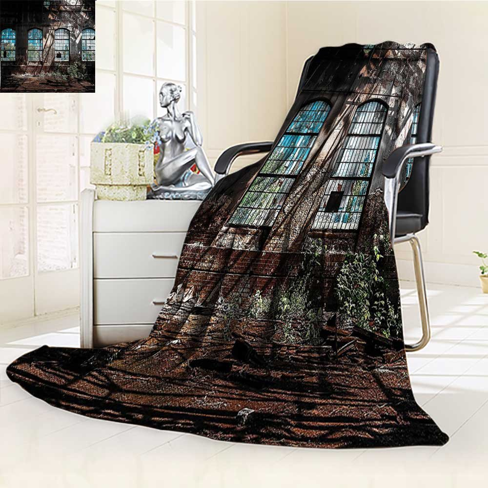 YOYI-HOME Digital Printing Duplex Printed Blanket with Bright Light from Tall Windows Ruins Hallway Station Shadow Image Brown Summer Quilt Comforter /W31.5 x H47