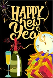 "PANHUI Happy New Year Garden Flag Champagne Bottle Celebrate Holiday Yard Lawn Outdoor Flag 12"" x 18"""