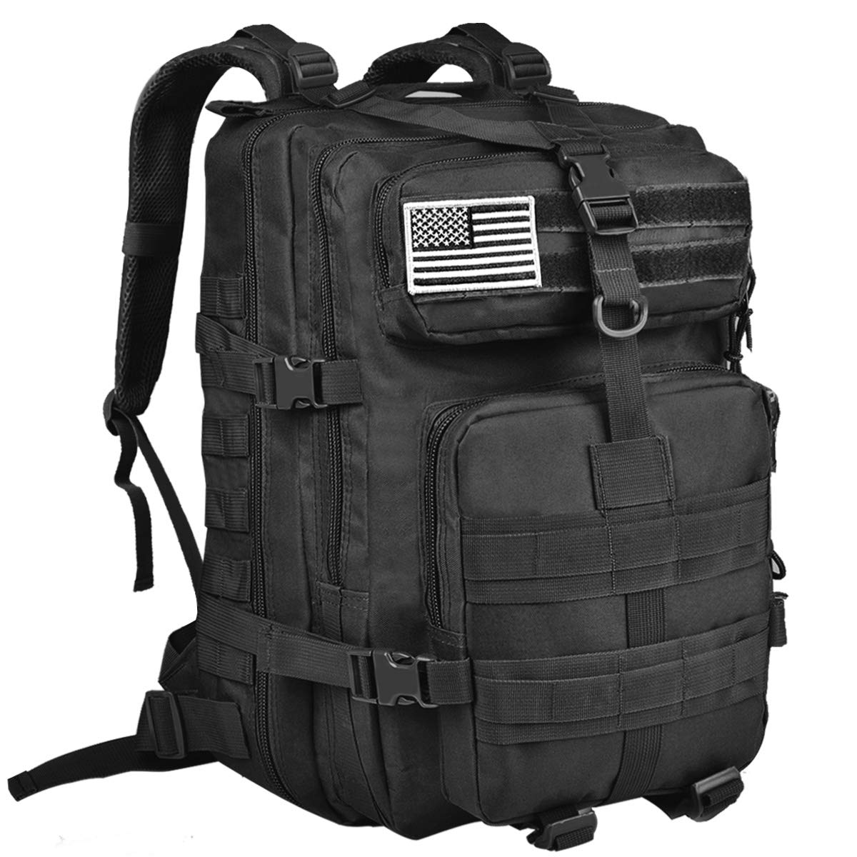 NOOLA 40L Military Tactical Army Backpack 3 Day Pack Molle Bug Out Bag Backpack Rucksacks for Outdoor Hiking Camping Trekking Hunting with Flag Patch Black