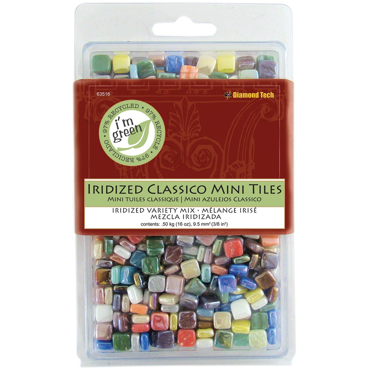 Diamond Tech 16-Ounce Jennifer's Mosaics Assorted Classico Shimmers Iridized Glass Tile, Mini