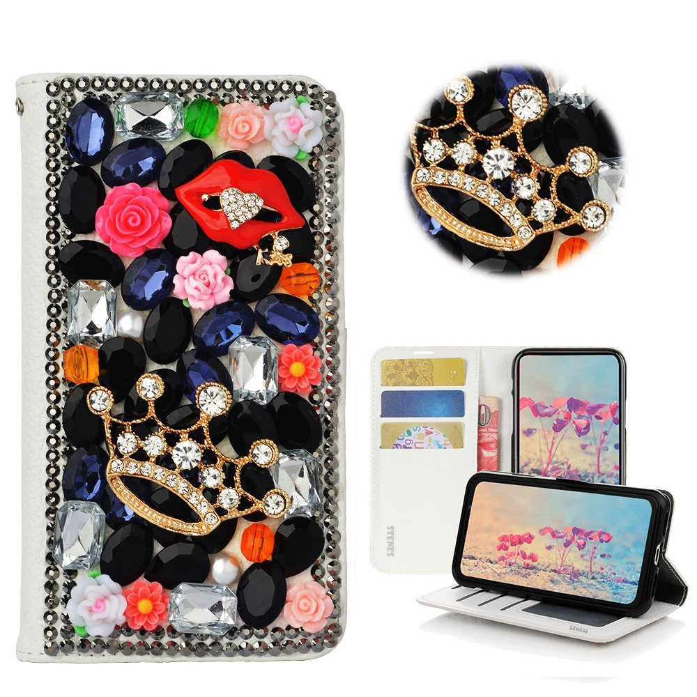 STENES Moto X4 Case - Stylish - 3D Handmade Bling Crystal Crown Sexy Lips Rose Floral Wallet Credit Card Slots Fold Media Stand Leather Cover for Motorola Moto X4 - Black by STENES