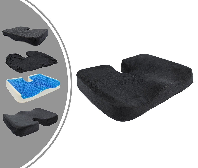 Leogreen - Cuscino Ortopedico, Cuscino Ortopedico Per il Coccige, Grigio, Dimensione: 45 x 35 x 7 cm, Peso: 0,42 kg
