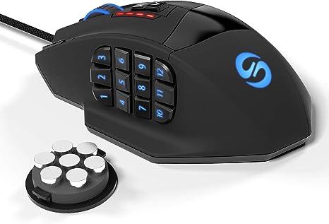 Ratón láser para juegos Gamspeed V8 MMO programable de alta precisión 16400 DPI para PC, 18 botones programables, 12 botones laterales