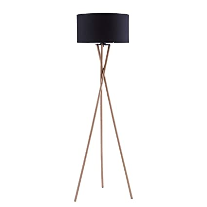 Archiology NOA Wood Tripod LED Floor Lamp - Modern Living Room Standing Light - Tall Contemporary Drum Shade Uplight and Downlight for Bedroom or ...