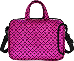 "11.6-Inch Laptop Shoulder Messenger Carrying Bag Case Sleeve For 11"" 11.6"" 12"" 12.5 inch Macbook/Notebook/Ultrabook/Chromebook, Mermaid Scale (Purple)"