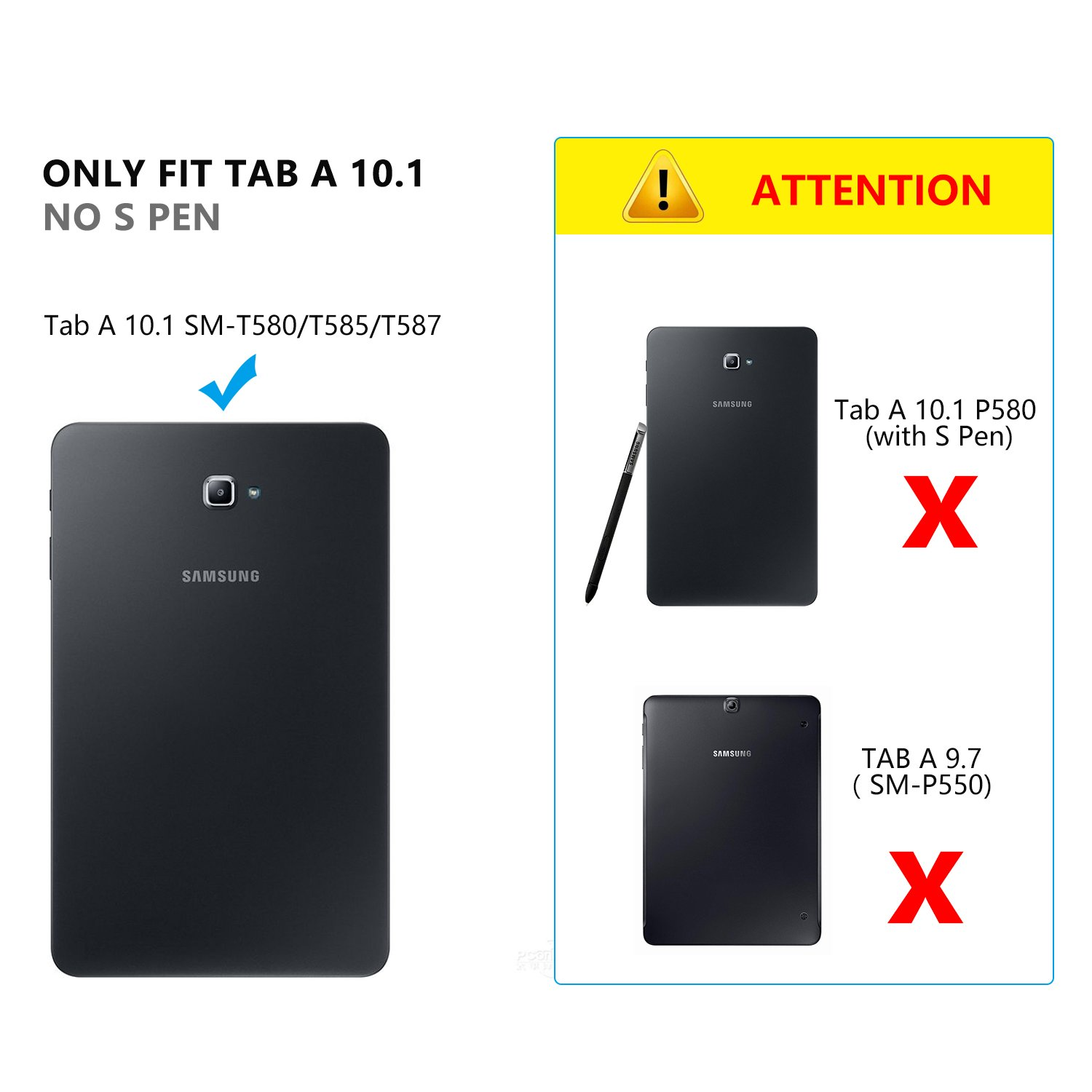 Wireless Detachable Keyboard Cover with Auto Sleep//Wake Multi-Angle Stand for Samsung Galaxy Tab A 10.1 SM-T580//T585 Tablet-Black Vivefox Samsung Galaxy Tab A 10.1 Keyboard Case