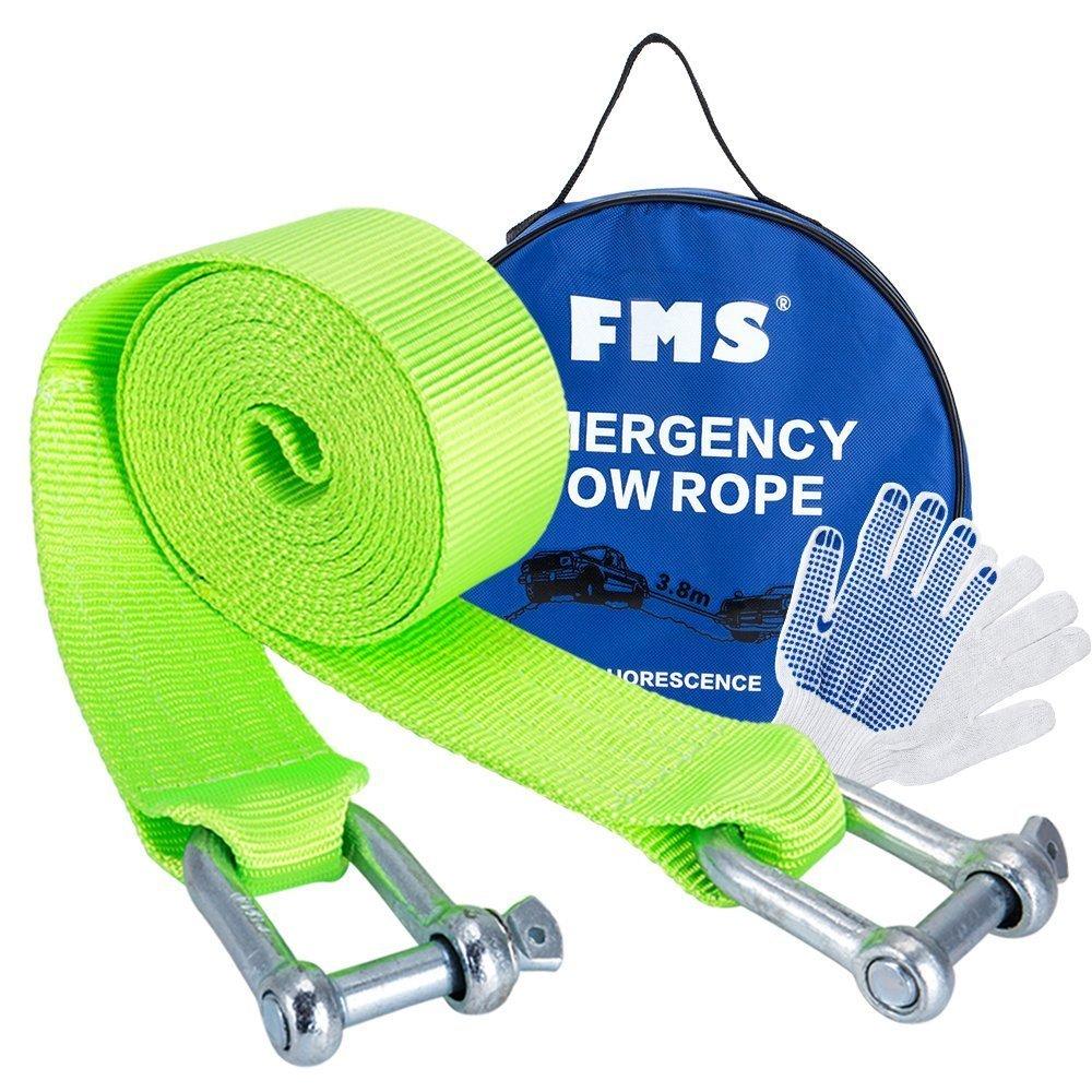 FMS Nylon Recovery Heavy Duty Tow Strap with 2 Safty Hooks & Free Carry Case, 2' x 12.5',11000lb Capacity (Green) 2 x 12.5' FBA_T-1-Green