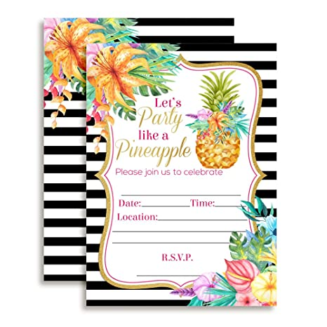 amazon com pineapple birthday party invitations with tropical
