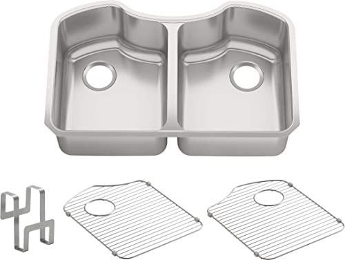 Octave R 3843-NA 32 x 20-1 4 x 9-5 16 under-mount double-equal stainless steel Kitchen Sink, 9.31 x 20.25 x 32.00 inches