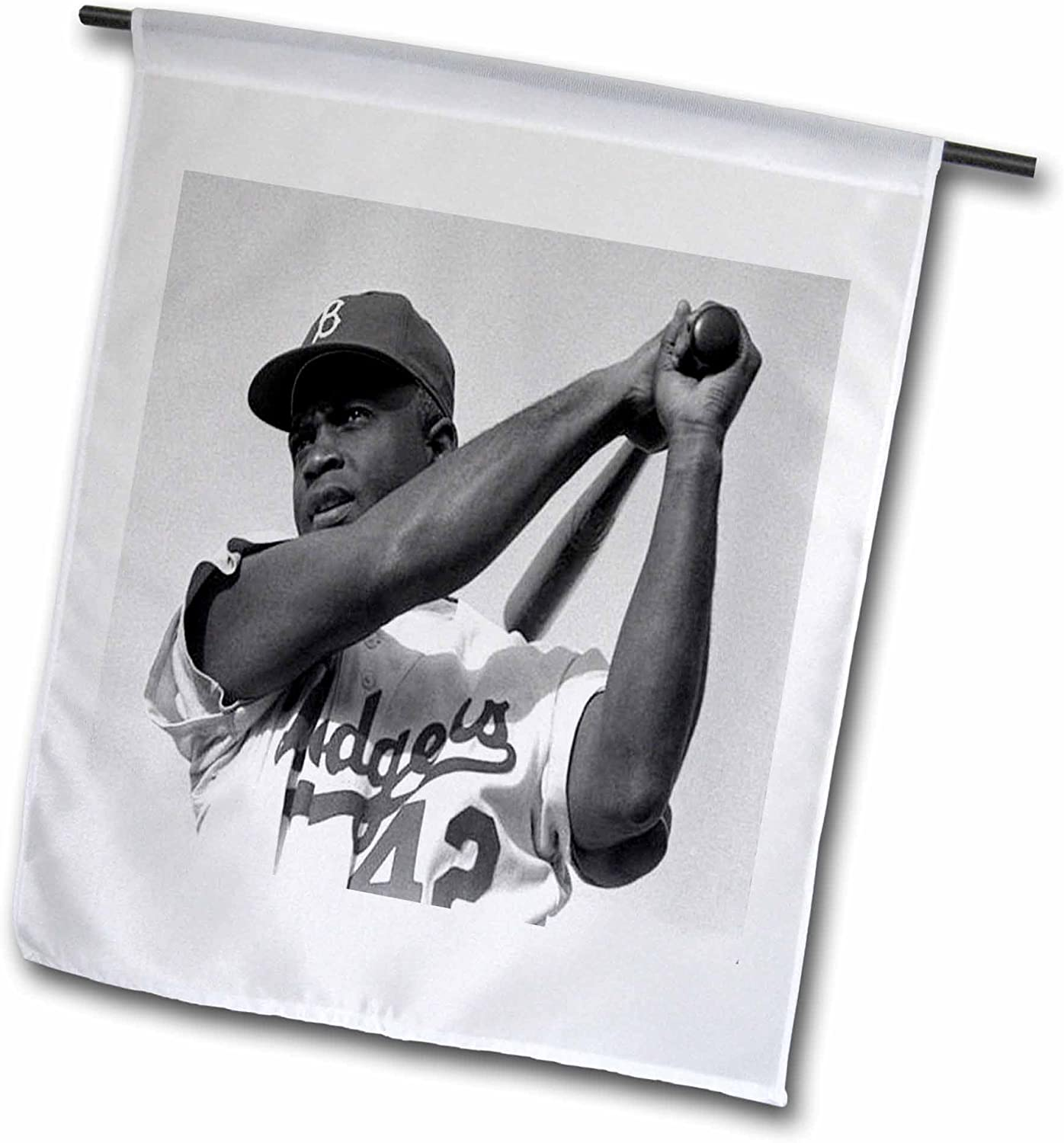 3dRose fl_80393_1 Picture of Jackie of The Brooklyn Dodgers Garden Flag, 12 by 18-Inch