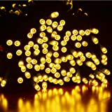 Dephen 200 LED Christmas Decoration Lights 72ft 8 Modes Flashing Waterproof Outdoor Fairy Lights for Garden Lawn Patio Yard Wedding Party Home Xmas Tree Decoration (Warm White)