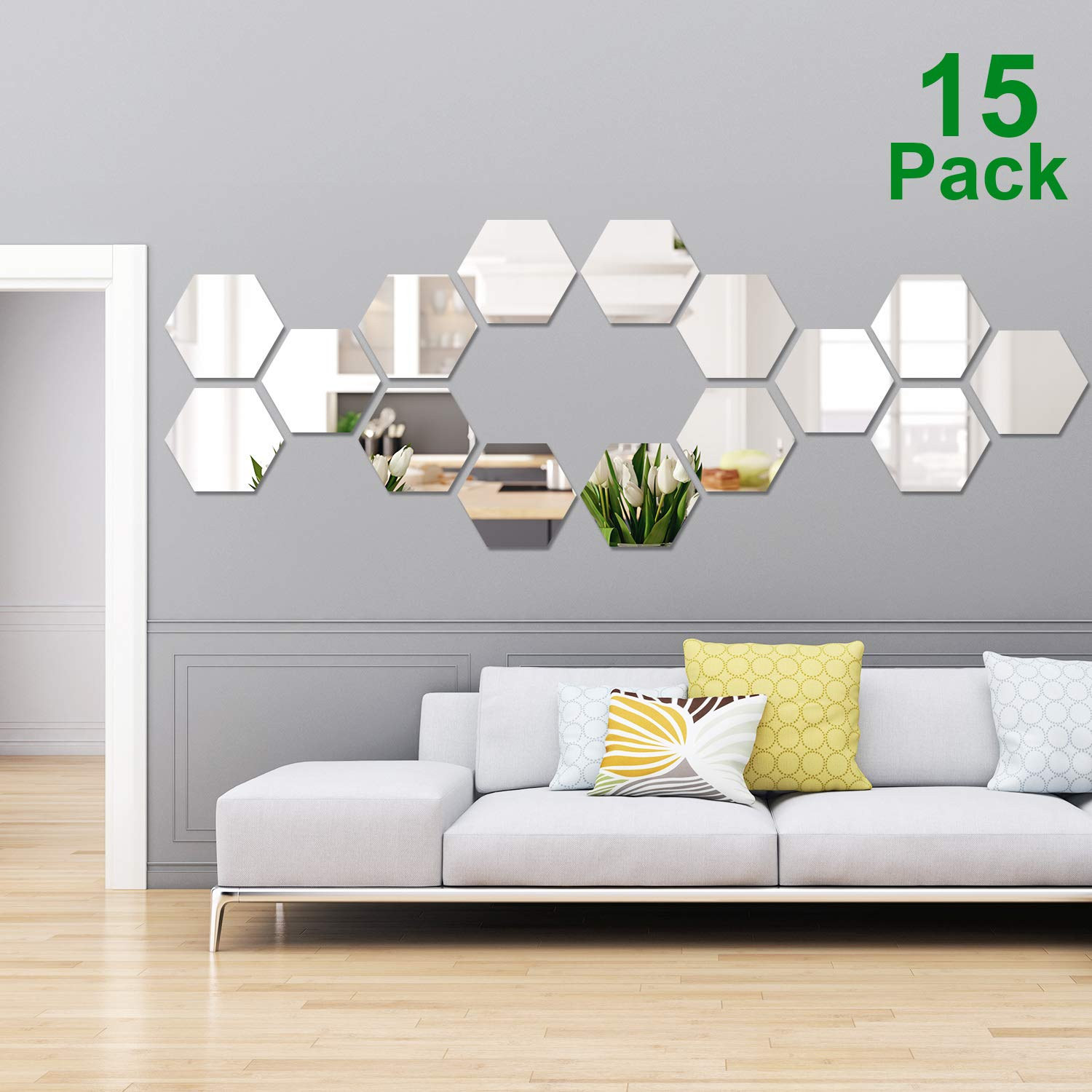 15 Pieces Removable Acrylic Mirror Setting Wall Sticker Decal for Home Living Room Bedroom Decor (Style 4, 15 Pieces) by Shappy (Image #1)