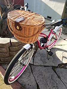 Wicker Bike Basket with lid and Cooler Bag