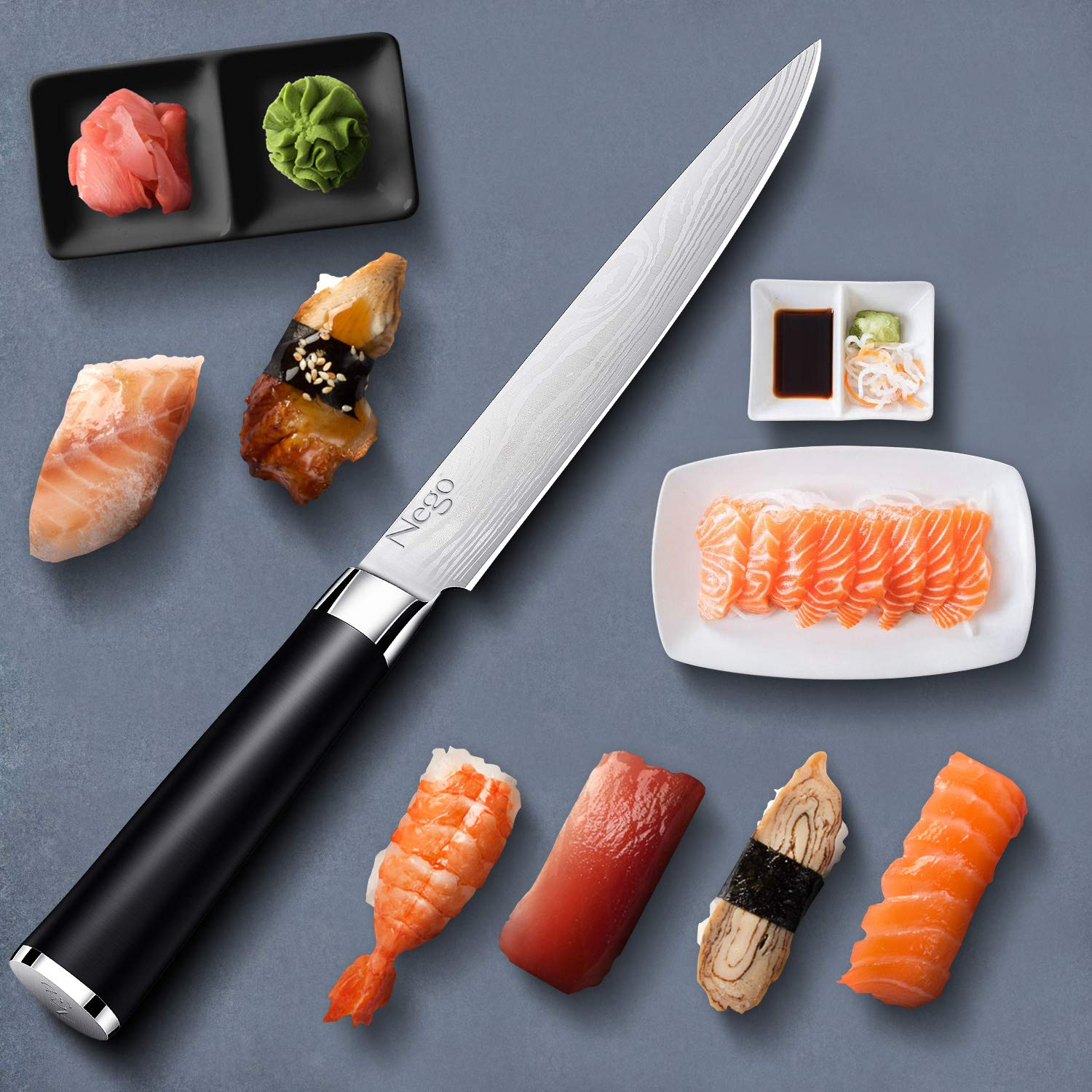 Sashimi Knife - Kitchen Knife - 8.5 Inch Chef's Knife - German High Carbon Stainless Steel With Ergonomic Handle Protective Finger Guard - Cooking Knife Chef Knives Vegetable Cleavers by Nego (Image #9)