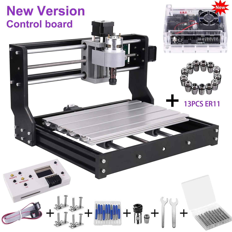 Upgrade Version CNC 3018 Pro GRBL Control DIY Mini CNC Machine, Wood Router Engraver with Offline Controller + 5mm ER11 PCB +20PCS 3.175MM CNC Router Bits + 4 Sets CNC Plates+ 13 Pcs ER11 Collet Set by mcwdoit