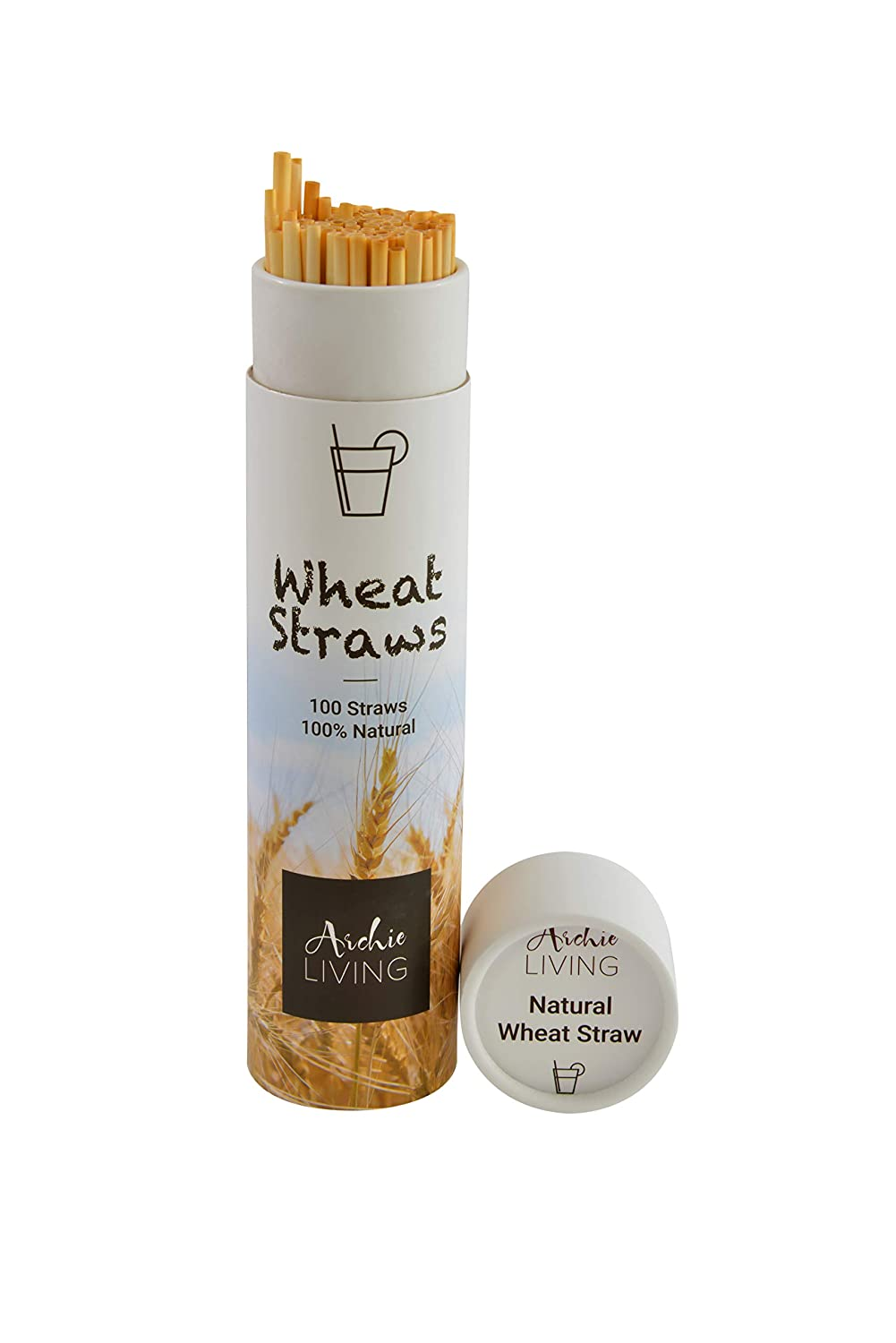 Tube of 100 Organic Natural Wheat Drinking Straws Eco Friendly 22cm Long Metal and Silicone Reusable Biodegradable Alternative to Plastic by Archie Living Reducing Single Use Plastic.