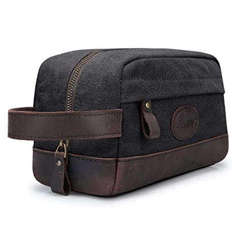 a0967e8cbf8e S-ZONE Vintage Leather Trim High Density Water Resistance Canvas Unisex Toiletry  Bag Portable Travel Wash Bag Cosmetic Makeup Bag  Amazon.co.uk  Luggage