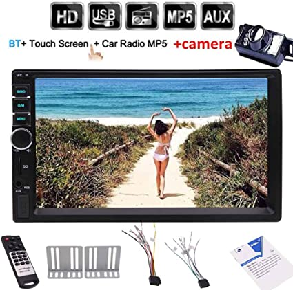 7 Inch HD Touch Screen Double Din in-Dash Car Stereo MP5 Player Audio Video Multimedia Player Support Bluetooth GPS FM Radio Aux-in USB TF SWC with Wireless Remote Control and Rear Camera