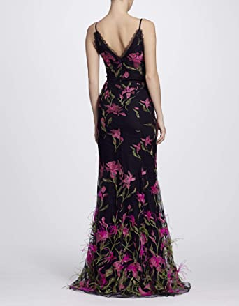 1135a131 Marchesa Notte Women's Sleeveless Feather Embroidered Gown 2 Black at Amazon  Women's Clothing store: