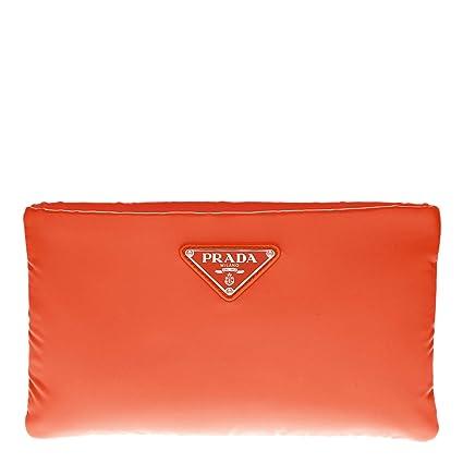 1253882a49e2 Amazon.com: Prada Small Tessuto Florescent Convertible Clutch Neon Orange:  TheLuxuryClub