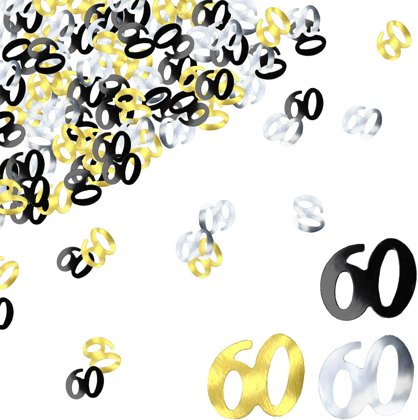 BEADNOVA 60th Birthday Confetti Sixty Years Old Confetti 60 Anniversary Number Confetti for Birthday Party Decor Wedding Table Decoration (1oz, Gold Silver Black Mix)