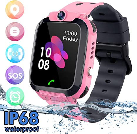 SZBXD Kids Waterproof Smart Watch Phone, LBS/GPS Tracker Touchscreen Smartwatch Games SOS Alarm Clock Camera Smart Watch Christmas Birthday Gifts for ...