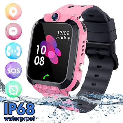 Kids Waterproof Smart Watch Phone, SZBXD LBS/GPS Tracker Touchscreen Smartwatch Games SOS Alarm Clock Camera Smart Watch Christmas Birthday Gifts for ...