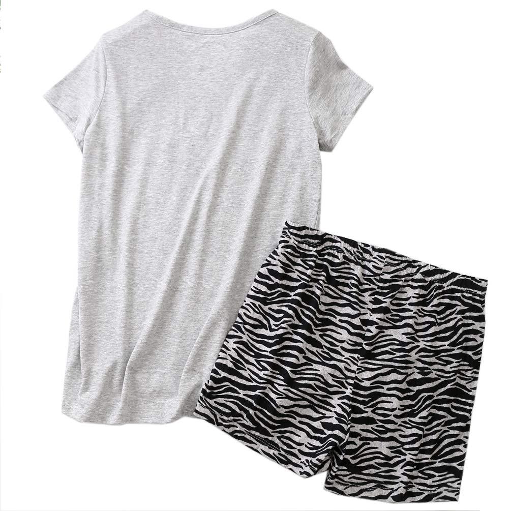 ENJOYNIGHT Women\'s Cute Sleepwear Print Tee and Shorts Pajama Set (Medium, ZZZebra)