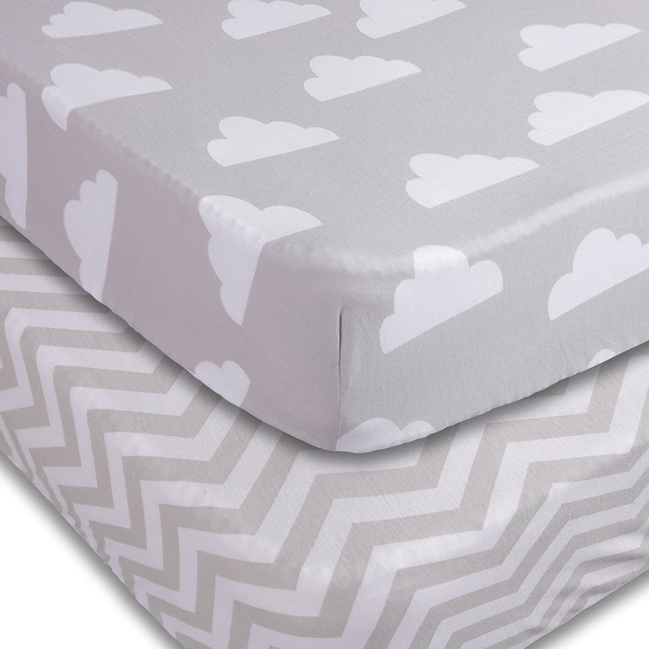 Playard Sheets, 2 Pack Clouds/Chevron Fitted Soft Jersey Cotton Playpen Bedding