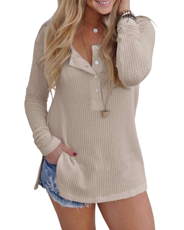 Inorin Womens Henley Blouse Fall Button Down Pullover Knit Long Sleeve Lightweight Shirts Tops