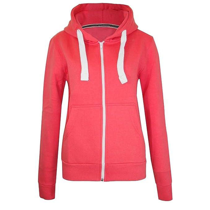 Superglamclothing Para mujer Plain sudadera con capucha Plus tamaños con capucha cremallera cremallera sudaderas chaquetas abrigos