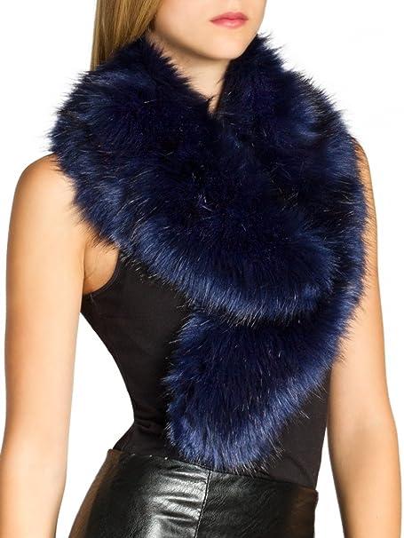 CASPAR STO001 Cuello de Piel Sintético para Mujer/Bufanda Elegante para el Invierno, Color:azul;Tamaño:Talla Única: Amazon.es: Ropa y accesorios