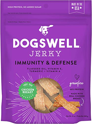 DOGSWELL 100 Meat Jerky Treats for Dogs, Made in The USA with Vitamins Turmeric for Healthy Aging