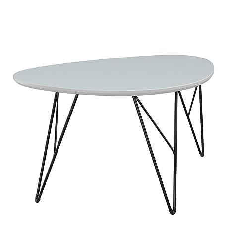 Bonvivo Design Couchtisch Ray Beistelltisch Nierentisch Im 50er Jahre Retro Look In Weiss Grau Und Metall Fussen In Schwarz Black 90 X 60 Cm