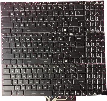 RTDpart Teclado portátil para MSI GE63 7RD 7RC GE63VR 7RE 7RF ...