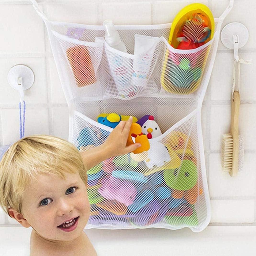Amazon Com Difcuy Bathroom Storage Baby Bath Bathtub Toy Mesh Storage Bag Suction Bathroom Stuff Tidy Organizer Net White Home Kitchen