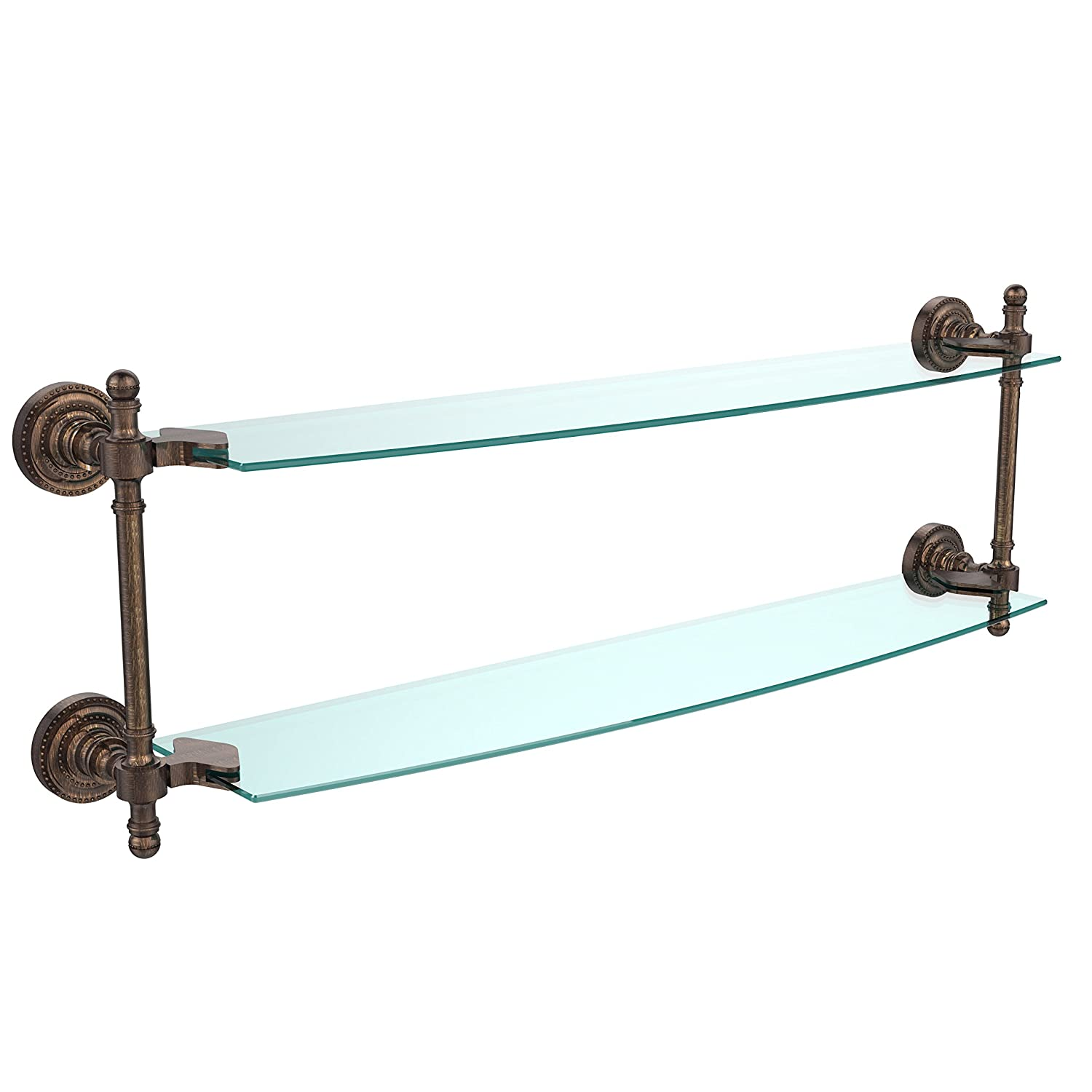 Allied Brass RD-34//18-CA Retro Dot Collection 18 Inch Two Tiered Glass Shelf Antique Copper